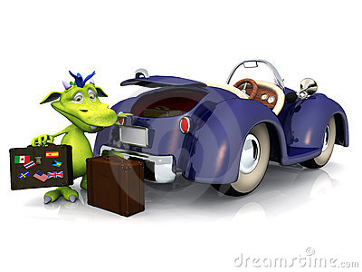 Monstre mignon de dessin animé partant en voyage de véhicule.