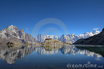 Mont Blanc from Lake Blanc, Chamonix, France