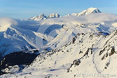Mont Blanc and ski slopes