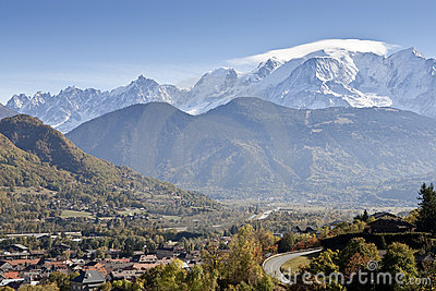 Mont Blanc Swiss Alps and Village