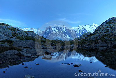 Mont Blanc under moonlight, Alps