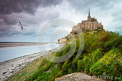 Mont Saint-Michel at windy stormy day