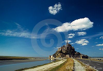 Mont-St-Michel in front of a blue sky