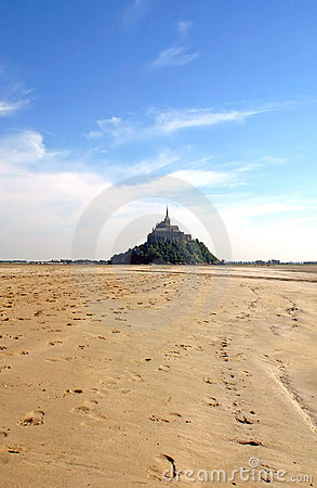 Mont St Michel and low tide - Normandy - France
