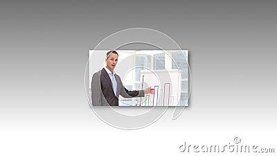 Montage των ανθρώπων που κάνουν μια παρουσίαση γραφείων απόθεμα βίντεο