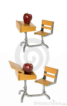 Montage: Antique School Desk with Shiny Red Apple