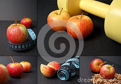 Montage of dieting concepts - Apples