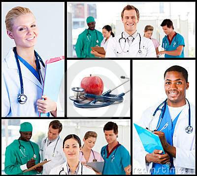 Montage of happy doctors working