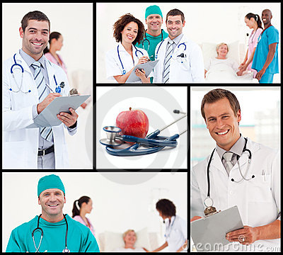 Montage of healthcare and nutrition concept
