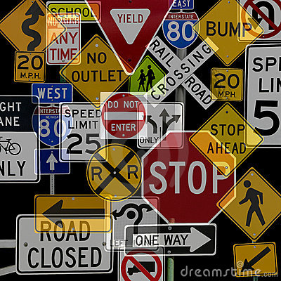 Montage of Numerous Traffic Control Signs