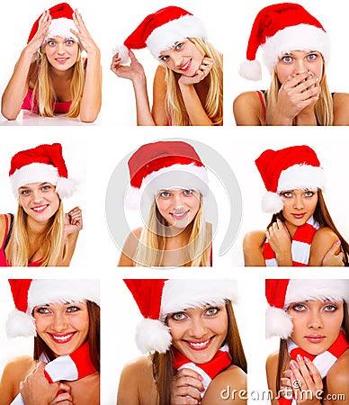 Free Montage Of Santa Woman Stock Photos - 3343503