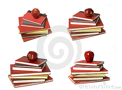 Montage: Red Apple on top of Seven Books