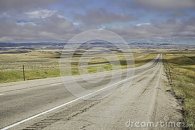 Montana Highway with Low Cloud Ceiling