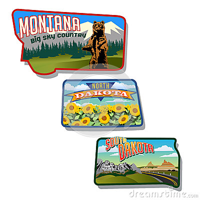 Montana, North Dakota, South Dakota, United States retro designs