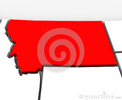 Montana Red Abstract 3D State Map United States America