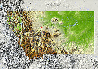 Montana, shaded relief map