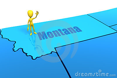 Montana state outline with yellow stick figure