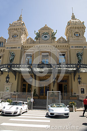 Monte Carlo Casino with grand prix racing cars Editorial Stock Image