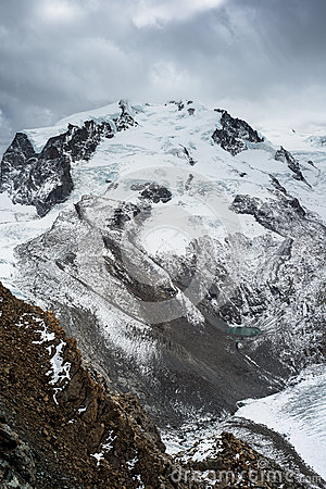 Monte Rosa with dark clouds