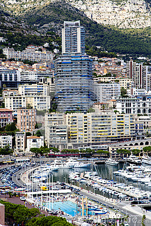 Montecarlo marina harbor Hercule panorama Editorial Stock Photo