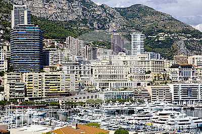 Montecarlo marina harbor Hercule panorama Editorial Image