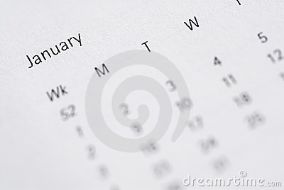 Month view of January in Diary.