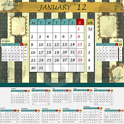 Monthly calendar 2012 - all months in the set