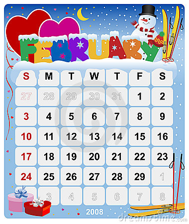 Monthly calendar - February
