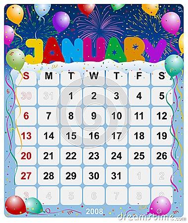Monthly calendar - January 1