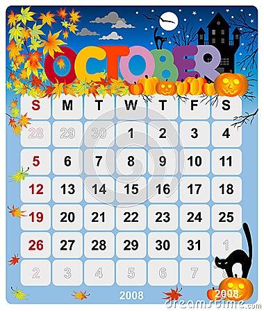 Monthly calendar - October 1