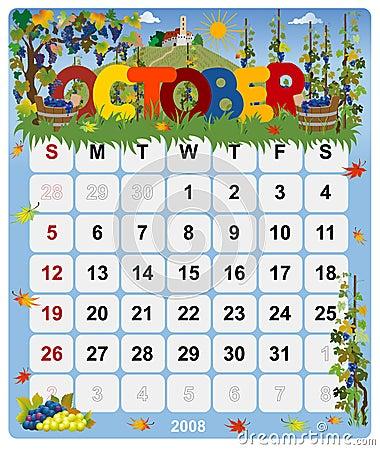 Monthly calendar - October 2