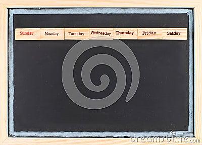 Monthly calendar with week words print