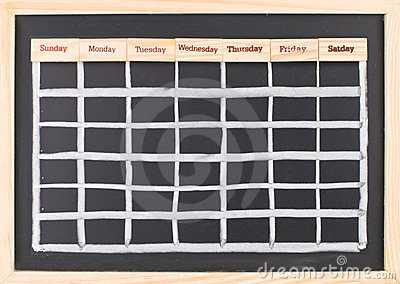 Monthly calendar with week words print