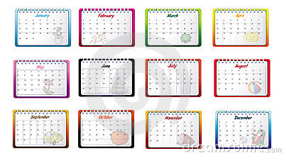 Monthly calendars
