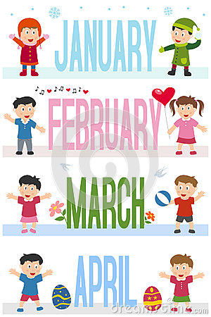 Free Months Banners With Kids [1] Royalty Free Stock Image - 28023676