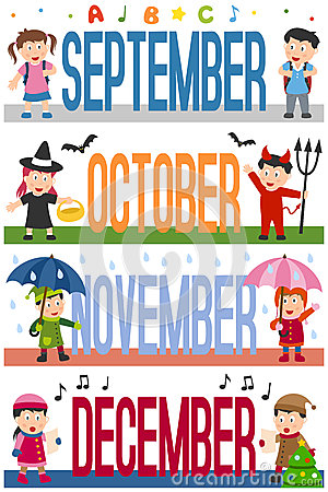 Free Months Banners With Kids [3] Royalty Free Stock Image - 28023746