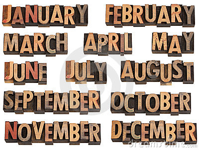Months in letterpress type