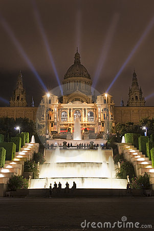 Montjuic in the night Editorial Stock Image