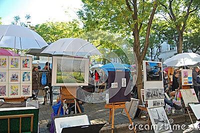 Montmartre Artwork Editorial Stock Photo