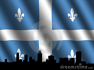 Montreal skyline Quebec flag