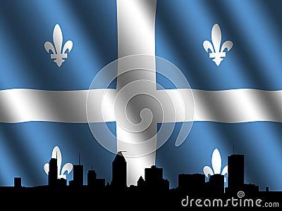 Montreal skyline Quebec flag