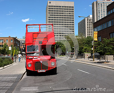 Montreal travel red bus Editorial Stock Image