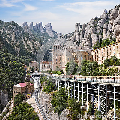 Free Montserrat Monastery, Catalonia, Spain. Santa Maria De Montserrat Is A Benedictine Abbey Located On The Mountain Of Montserrat. Stock Image - 36561251