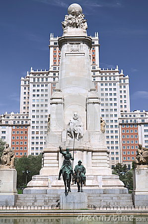 The monument of Cervantes in Madrid, Spain