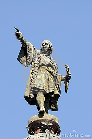 Monument of Christopher Columbus at end of La Rambla, Barcelona, Spain ...