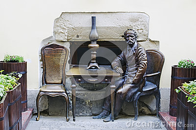 Monument devoted of inventors kerosene lamps Editorial Stock Image