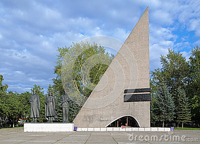 Monument and Eternal Flame in Arkhangelsk, Russia