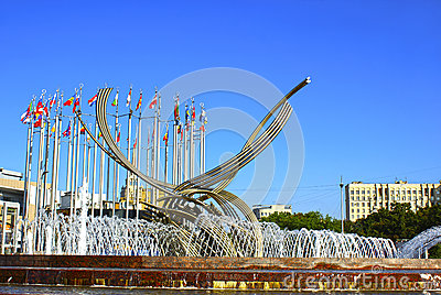 Monument on the Europe Square in Moscow
