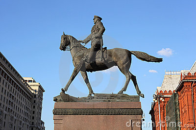Monument Georgy Zhukov on Manege Square in Moscow