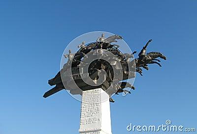 Monument on Gundogdu square at Izmir